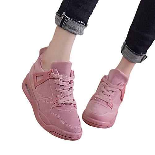 OSYARD Damen Fitness Sneaker Schnürer Turnschuhe Fitnessschuhe, Frauen Mode Casual Atmungsaktiv Laufschuhe Reise Schuhe Student Freizeit Leder Shoes Outdoor Sportschuhe(240/39, Rosa)