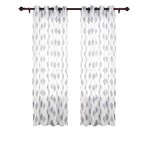 Deconovo tende trasparenti voile ricamate a fogli con occhielli grigio per soggiorno 140x175 cm due pannelli