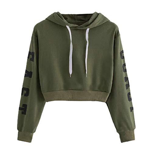 Xmiral Damen-Kapuzenpullis Polyester-Herbst-langes Hülsen-Hoodie-Sweatshirt-Buchstaben-mit Kapuze Pullover-Kordelzug-Oberseiten-Bluse (M,Grün2) -