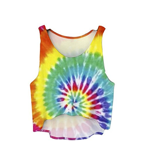 Fringoo Teenage Girls Summer Crop Top Baggy Sleeveless Vest Festival Party Tank Top Printed Jersey