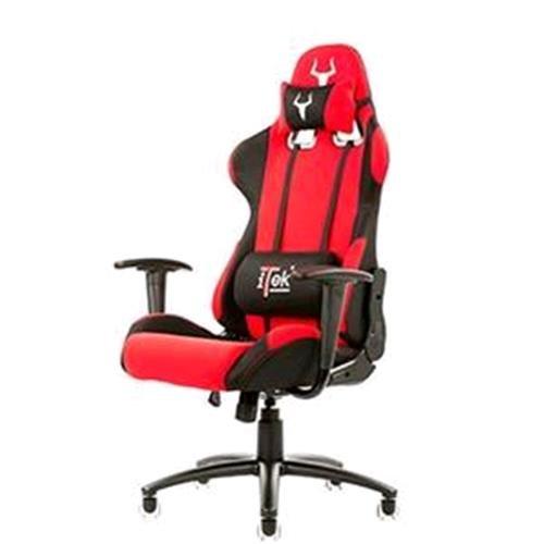 iTek Gaming Chair Taurus P2–PU Leder, zwei Kissen, Schwarz Rot
