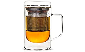 Teabox Seidel Glass Insulated Tea Mug with Infuser | Doublewalled Borosilicate Glass | 300ml