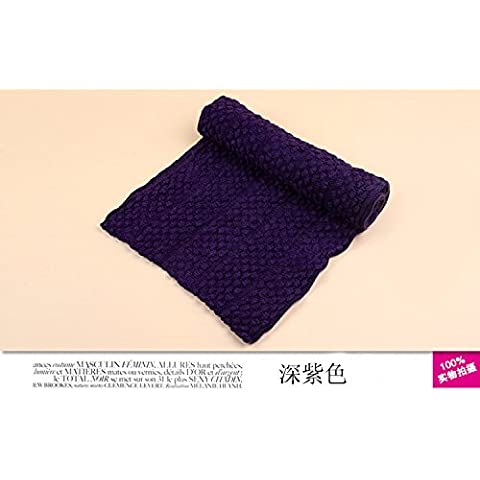 MEICHEN-autunno e inverno Giorni di lana a maglia bib mais copre il primo anello di (Lavanda Collo Wrap)