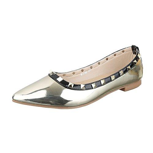 Ital-Design Ballerinas Damen-Schuhe Blockabsatz Blockabsatz Ballerinas Gold, Gr 36, A-118-