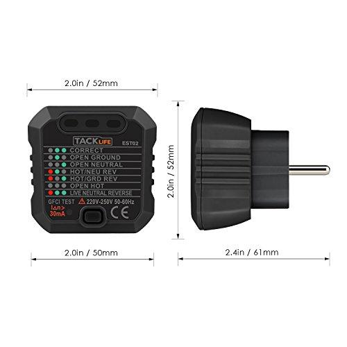 Tacklife EST02 Avanzado comprobador de enchufes,  testeador del cableado eléctrico GFCI,  probador del zócalo de corriente para circuitos eléctricos meter tester polaridad neutro y tierra-  1 pieza