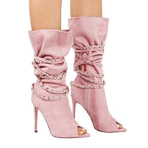 MYMYG Damen Stiefeletten Elegante dünne Fersen High Heels Boots Offen Peep Toe Damen Peeptoe Plateau High Heels Stiefeletten mit Schnürsenkel Elegant Bogen Lace Up Schuhe