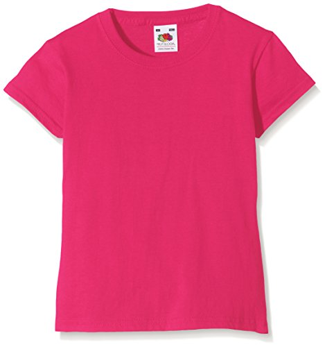Fruit of the Loom Valueweight - T-Shirt Fille - Rose (Fuchsia) - 12/13 ans