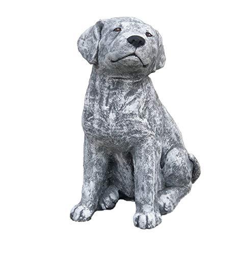 Steinfigur großer Labrador Hund, Höhe ca. 36 cm, Gewicht 14,3 kg, Frost- und wetterfest bis -30°C, massiver Steinguss