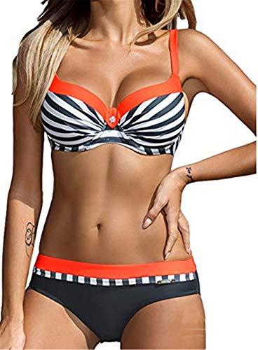 Women's Bikini Two Piece Swimsuit Stripe Swimwear Padded Tankini Triangle Bathing Suit - Stripe Triangle Bikini