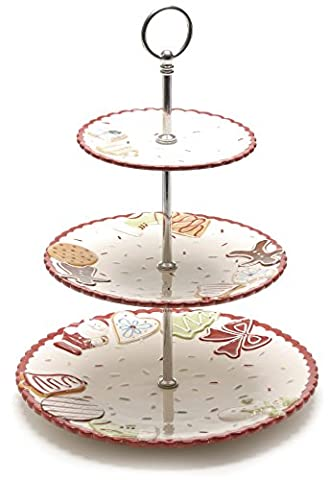 Festive Productions 3 Tier Dolomite Porcelain Gingerbread Style Cake Stand, 27 cm