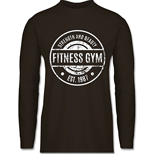 Shirtracer CrossFit & Workout - Fitness Gym Strength and Beauty - Herren Langarmshirt Braun