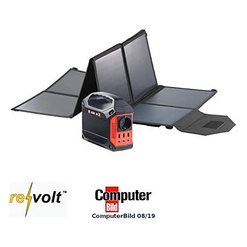 reVolt Solar-Power-Generatoren: Solar-Generator & Powerbank mit faltbarem 100-Watt-Solarpanel, 42 Ah (Camping-Strom)