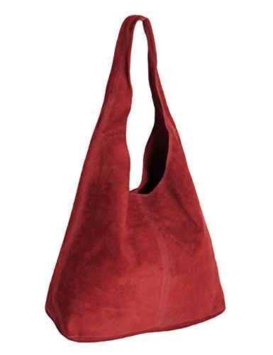 Ledertasche rot Lederhandtasche Tasche Shopper Wildleder Handtaschen Schultertaschen Beuteltasche Leder DIN-A4 20-re (Leder-hobo Rote)