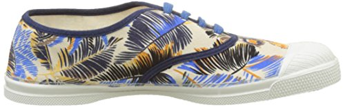 Bensimon - Tennis Lacet Pencil Flowers, Basse Donna Blu (Bleu)