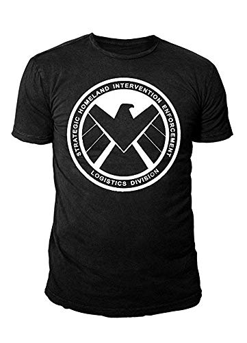 Marvel Comic - Captain America Herren T-Shirt - Shield Logo Schwarz (S-XL) (S)