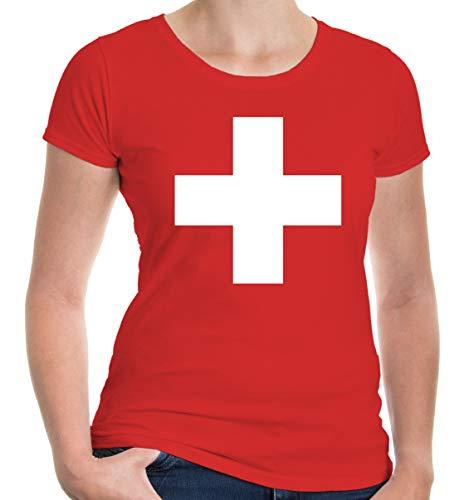 buXsbaum® Damen Kurzarm Girlie T-Shirt bedruckt Schweizer Kreuz | Ländershirt Flagge Wappen | M red-white Rot