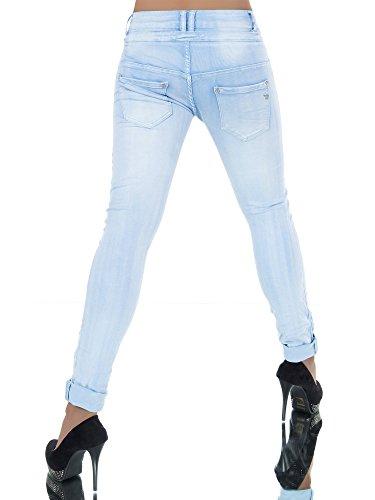 Damen Jeans Hose Boyfriend Damenjeans Harem Baggy Chino Haremshose L368, Größen:36 (S), Farben:Hellblau -