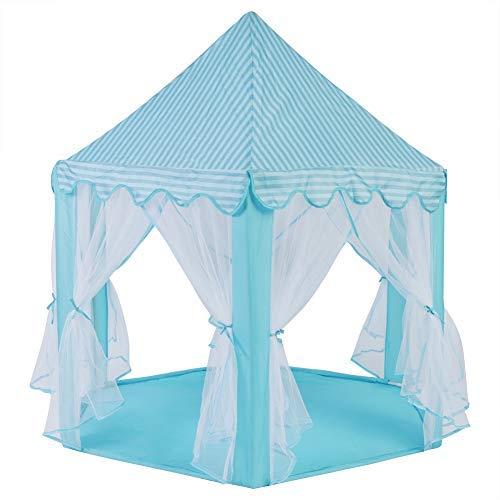 (Zerodis Spielzelt Kinder Tragbar Schloss Spielzeug Geschenk für Jungen Mädchen Camping Indoor Outdoor(Blau))