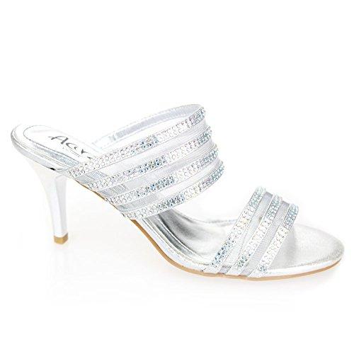Aarz donne di sera del partito di promenade di nozze signore tacco medio Diamante sandalo calza il formato (oro, argento, champagne) Argento