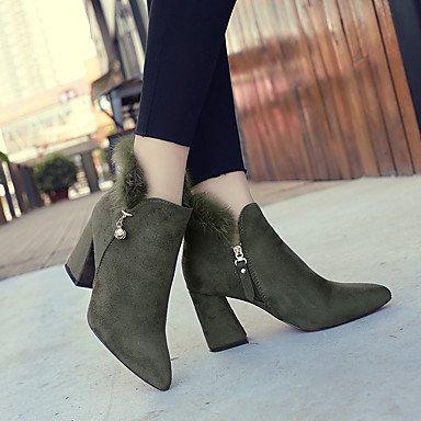 Women's Boots Comfort Herbst Winter Stoff Casual Reissverschluss Ferse Khaki Army Grün Schwarz 2-in-2 3/4 in, Army Green, US 8 / EU 39/UK6/CN 39 (Green Glitter Schuhe)