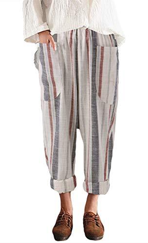 Icegrey Damen Leinenhose lockere Sommer Hose Gestreifte Freizeithose Rot & grau gestreift 48 - Gestreifte Leinen-pants