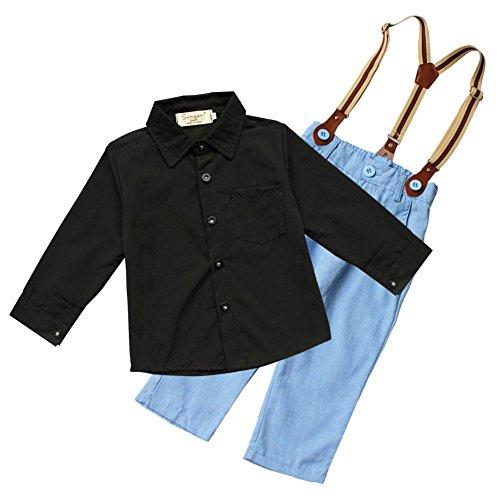YiZYiF Jungen Baby Bekleidungsset Formal Smoking Anzug Langärmelige Shirt + Trägerhose Outfits Gr. 80-110 (104-110 (Herstellergröße:120), Blau)