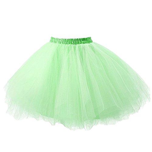 Ellames Damen 50er Vintage Petticoat Party Dance Tutu Rock Ballkleid Hellgrün L/XL