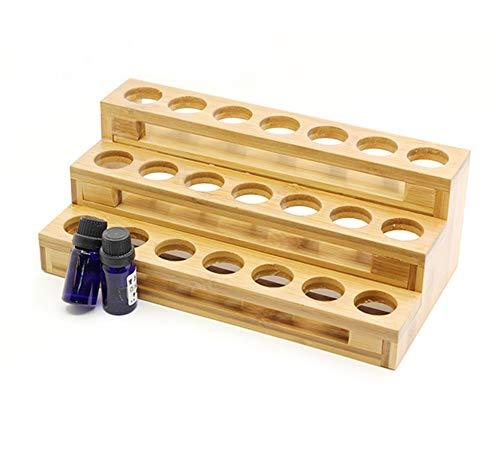 PhantomSky 18 Löcher Bambus Organizer Aromatherapie Geschenk-Box Halter Ätherische Öle Flaschen Holz Aufbewahrung Display Regal - Geeignet für Nagellack, Duftöle, Ätherisches Öl, Stain und Lippenstift -