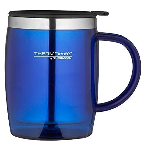 Thermocafé Plastique et acier inoxydable Desk/Mug de voyage, 450ml, Plastique Acier inoxydable, bleu, Small