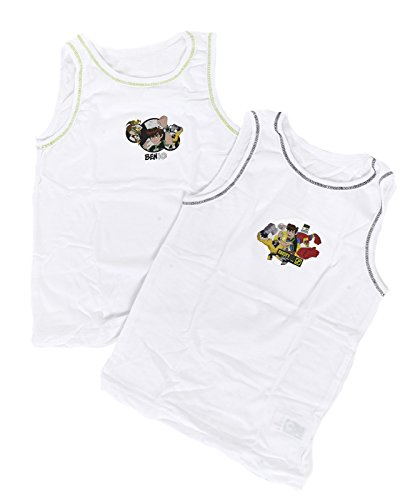 Image of Kids Boys Toddlers 2 Pack Character Underwear Vests Ben 10 Set Tops Size 3-4 Years