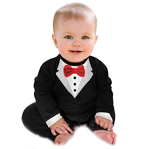 Traje de caballero para bebé, de Domybest, conjunto de manga larga negro negro Talla:0--6 M