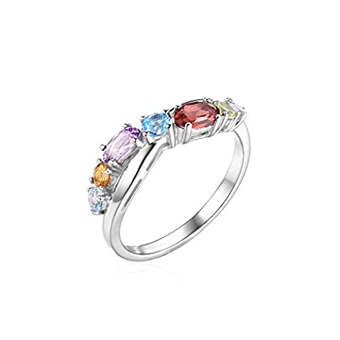 JewelryPalace Mode 0.9ct Mehrfarbig Natürlich Himmel Schweizer Blau Topas Amethyst Citrin Granat Peridot Versprechen Ring 925 Sterling Silber - Ametista Promise Ring