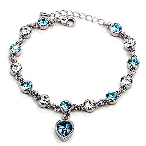Gioielli braccialetto di fascino per il cuore della donna di cristallo femmina gioielli Ocean Star b Schmuck Armband-Charme für Das Herz der Damen-Kristall Weiblich Schmuck Ocean Star B Modeschmuck (B-charme-armband)