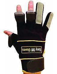Gants spécialisés velcro (avec bouts des doigts repliables) par Easy Off Gloves - Idéal pour les constructeurs, commerçant, électriciens, plombiers, bricolage et de la pêche. (Moyen EU 9)