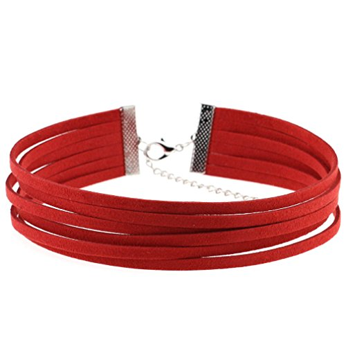 Mode Multilayer Leder Choker Halskette Für Frauen Mädchen Choker Samt Halskette Einstellbar,Red -