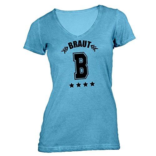Damen T-Shirt V-Ausschnitt - Junggesellenabschied - B - Braut College - JGA Polterabend Junggesellen Hellblau