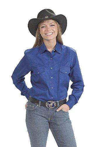 Sunrise Outlet Women s Button Down Cotton Western Cowboy Shirt-Royal-XS 08ae18b8b533