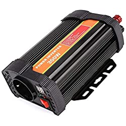 MVPower Convertisseur de tension 300 W/600 W/1000 W - Onduleur 12 VCC vers 220 VCA, certifié CEROHS 2 ports USB IKS - Prise allume-cigare, clips de batterie de voiture