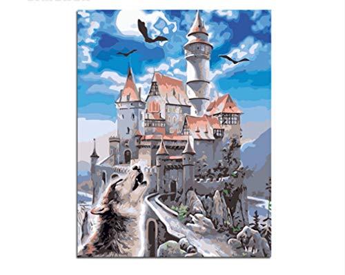 XIGZI Rahmenlose Burg Adler Wolf Malen Nach Zahlen Färbung Von Zahlen Wohnkultur 40X50 cm 40x50 cm
