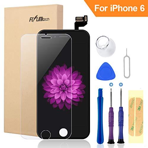 FLYLINKTECH Für iPhone 6 Display Schwarz, LCD 3D Touchscreen Digitizer Assembly mit Werkzeuge und Displayschutzfolie Für iPhone 6 Schwarz 4.7
