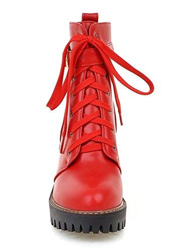 YE Damen Chunky Heels Stiefeletten mit Plateau Bequeme Blockabsatz Schnürung und Schnallen 8cm Absatz Herbst Winterschuhe Rot