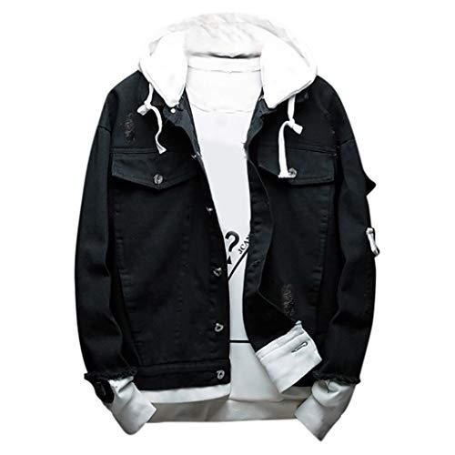 Imagen de zodof chaqueta hombre abrigo moda casual  encapuchado talla grande cómodo capa chaqueta running hooded jacket coat tops,negro