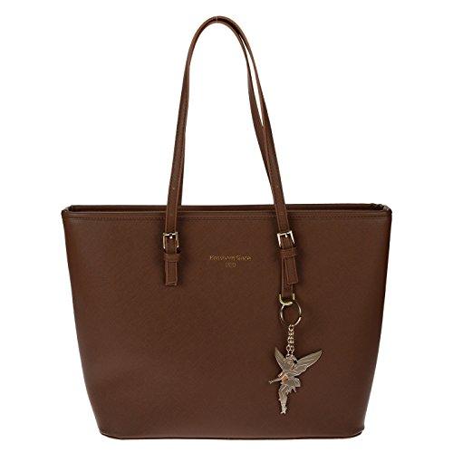 Kossberg Damen Handtasche Schultertasche Shopper Taschen Umhängetasche schwarz braun black brown 39x29x14cm Braun