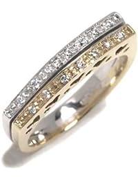 Vintage Bague Femme en Or 18 carats Blanc/Jaune avec Diamant H/SI (total diamants 0.07 ct)