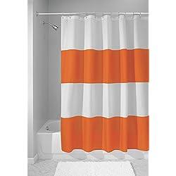 mDesign – Cortina de ducha con estampado de rayas – prácticas cortinas de baño con medidas perfectas de 183 cm x 183 cm - cortinas de ducha resistentes - color: naranja / blanco