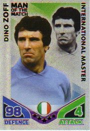 Match Attax ENGLAND Man of the Match ITALY Zoff