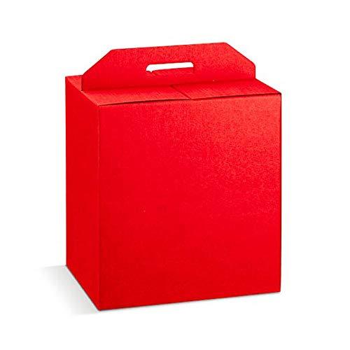 5 scatole 33x25x35h rosse robuste strenne natalizie fino a 7 kg cartone accoppiato e maniglia esterna rosso