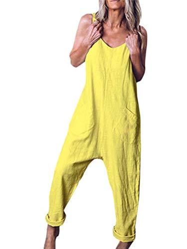 Tomwell Damen Beiläufig Latzhose Jumpsuits Bib Hose Leinen Casual Loose Overall Lange Wide Leg Hosen A Gelb DE 38