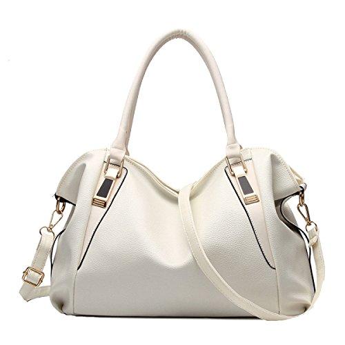 Damen PU Leder Laptoptasche Aktentasche Umhängetasche Messenger Taschen Multicolor White
