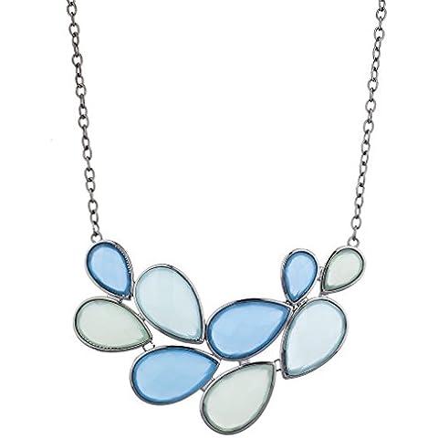 LUX accesorios en color plateado tonos azul forma de lágrima piedra declaración collar